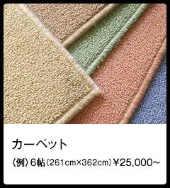 カーペット 〈例〉6帖(261cm×362cm)¥25,000~